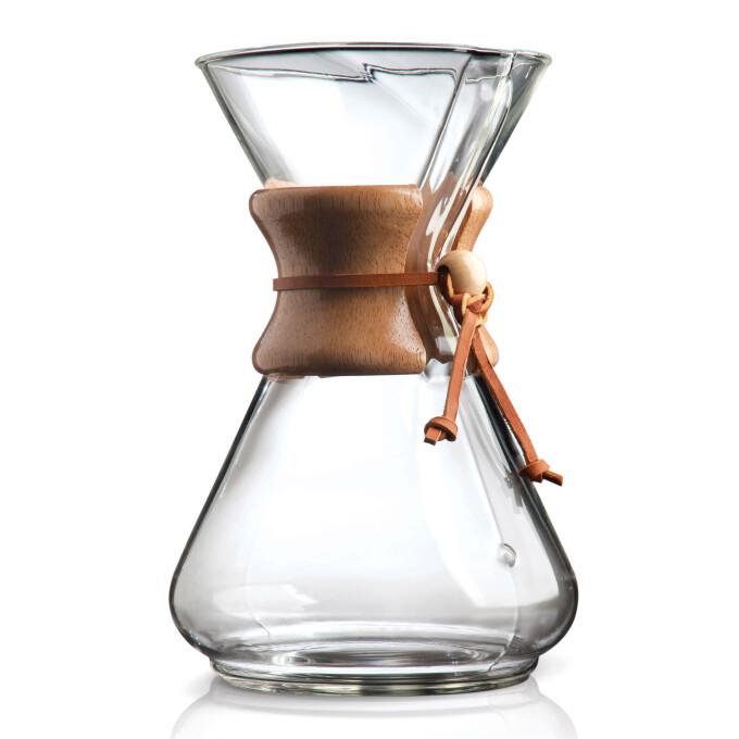 chemex karaffe aus glas mit holzhals f r 10 tassen premium kaffee espresso. Black Bedroom Furniture Sets. Home Design Ideas