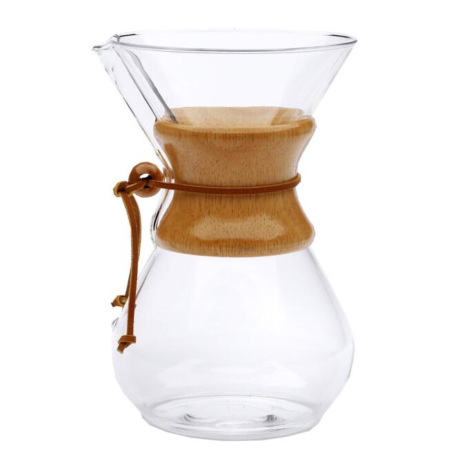 chemex karaffe aus glas mit holzhals online bestellen premium kaffee. Black Bedroom Furniture Sets. Home Design Ideas